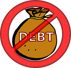 money bag with the word debt on its side cancelled out with a red circle and red diagonal line