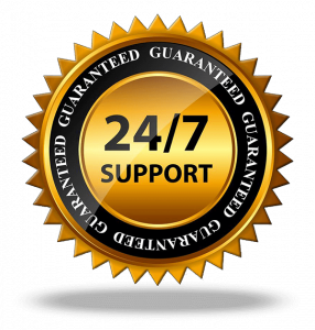 24-7-support-guarantee black and gold emblem